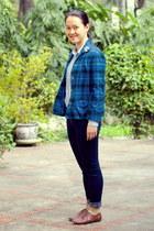 teal Pendleton jacket - brown shoes - navy Mango jeans