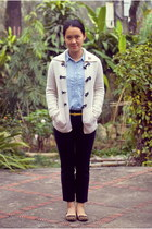light blue shirt - off white cardigan - black pants - gold belt