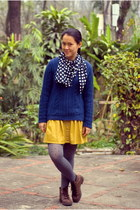 navy sweater - brown Payless boots - heather gray polka dot Target tights