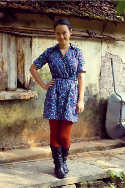 navy floral Old Navy dress - black Journee boots - burnt orange Target tights
