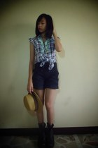 teal top - boots - hat - shorts - Funky Fish accessories