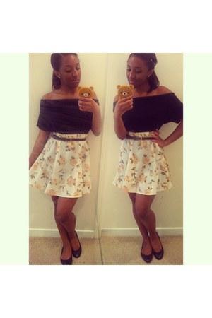 black H&M top - black Chanel flats - skater skirt thrifted skirt