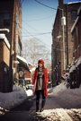 Red-coat-gray-dress-black-shoes-silver-scarf