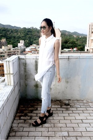 dark gray H&M shoes - sky blue Forever 21 jeans - black Monki sunglasses