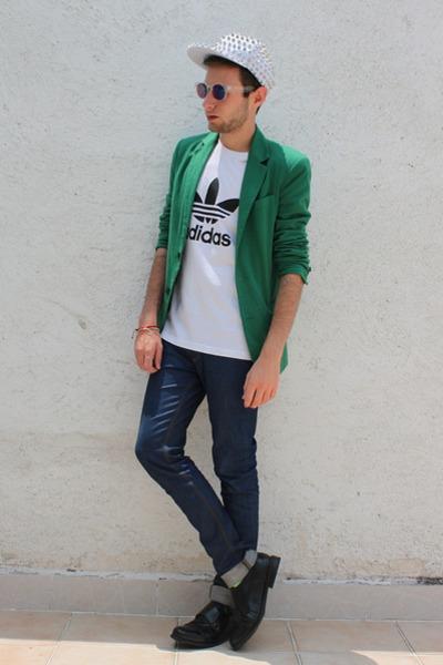 green Zara blazer - white Love Actually hat - white Adidas Originals shirt