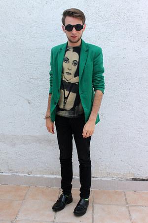green Zara blazer - black Urban Outfitters sunglasses