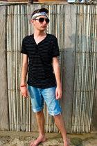 blue DIY shorts