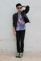 purple H&M hat - black vintage jacket - deep purple Urban Outfitters shirt