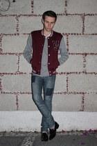 ruby red Zara jacket - black American Apparel loafers