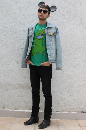 green Target shirt - sky blue Forever 21 jacket - black H&M sunglasses