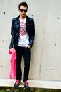 Pink-american-apparel-scarf-black-nike-shoes