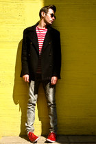 black Zara coat - red Zara shoes - black Ray Ban sunglasses