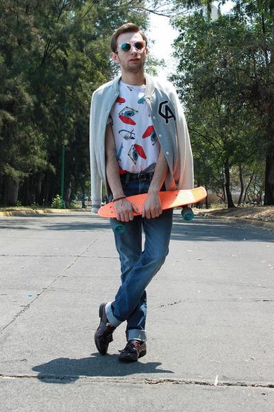 white Forever 21 jacket - blue salsa jeans - white Topman shirt