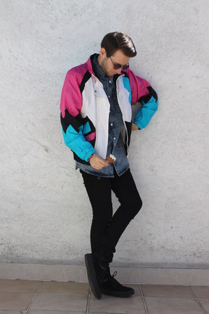 black Topman jeans - hot pink vintage jacket
