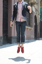 red Zara shoes - blue Zara blazer - red Zara shirt