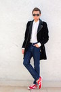 Red-panam-shoes-black-hm-coat-blue-forever-21-jeans-white-zara-shirt