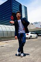 blue Zara blazer - white Zara shoes - white Sicario sunglasses