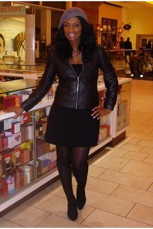 gray knit hat H&M hat - black vintage shoes - black vintage dress