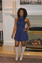 cotton SNAP dress - leather Giuseppe Zanotti boots - cotton SxyWhat cape