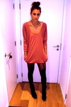 beige allsaints dress - black Topshop boots - black Henry Holland tights