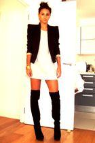 black Topshop boots - gray H&M t-shirt - black Topshop blazer