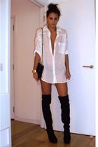 black Topshop boots - white H&M shirt - black Chanel accessories