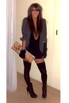 gray Topshop blazer - black Topshop shoes - brown vivienne westwood accessories