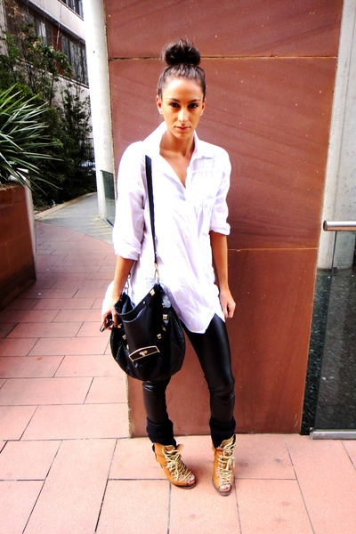 white H&amp;M shirt - brown asos boots - black Topshop leggings