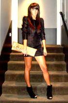 black H&M dress - black asos shoes - brown vivienne westwood accessories