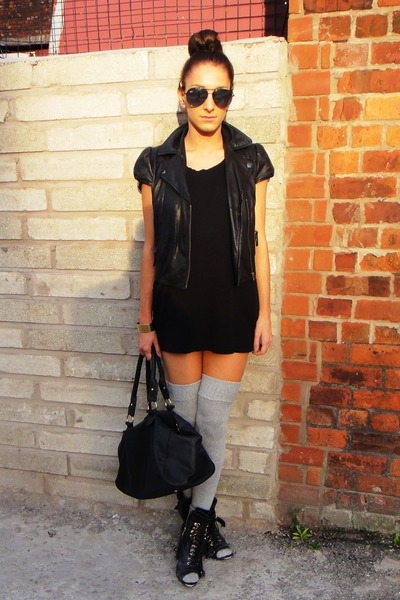 gray aa socks - black Topshop boots - black aa dress - black Topshop jacket - bl