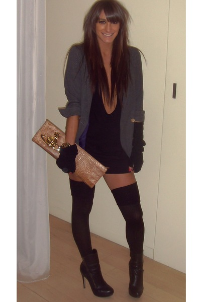 Topshop Gray Blazer Topshop Black Shoes Vivienne Westwood Brown Accessories American Apparel Black Dress