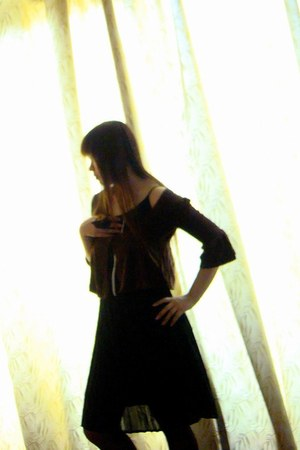 black chiffon dress - brick red velour cape - black nylon stockings