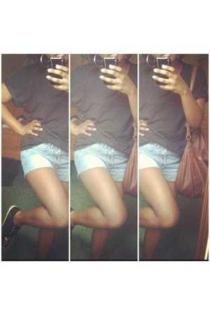 black asos shoes - sky blue H&M shorts - black Primark t-shirt