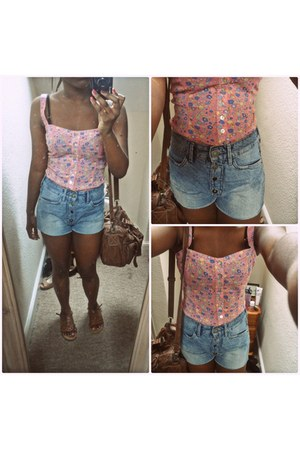 brown Accessorize bag - sky blue H&M shorts - burnt orange George sandals