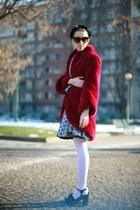 brick red mink fur Carlo Ramello coat - blue neoprene Capsule sweatshirt