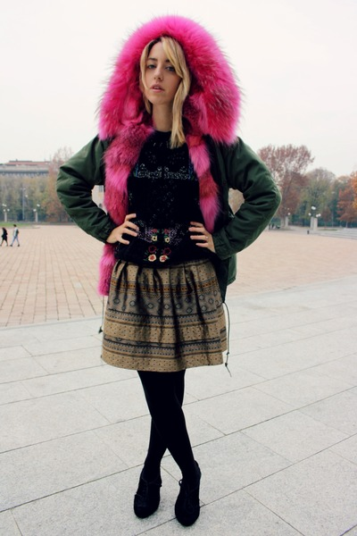 fur ter et bantine heels - faux fur Mr&Mrs Furs jacket - Zara sweatshirt