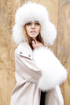 fur ALBINO coat - fur Chanel hat - Prada heels