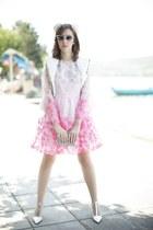fur Annie P jacket - Manoush dress - Italia Independent sunglasses
