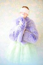 violet fur fox Carlo Ramello jacket - aquamarine dress Manoush dress