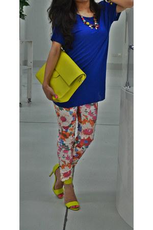 Zara jeans - neon Zara bag - neon H&M sandals - Zara t-shirt