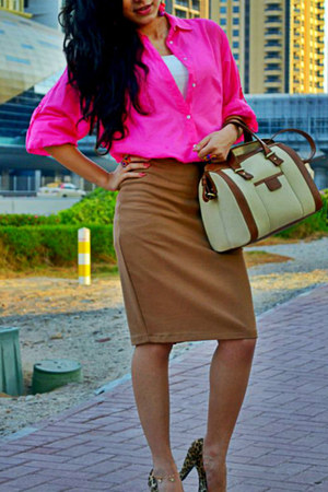 neon pink Zara shirt - Zara bag - Zara skirt - leopard Newlook heels