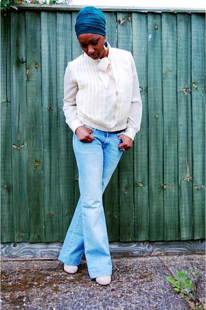 Zara jeans - vintage blouse - TK Maxx wedges