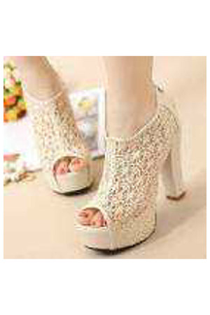 ivory lace wedges