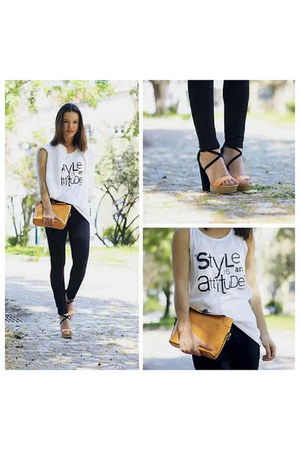 black jeans - gold bag - white t-shirt