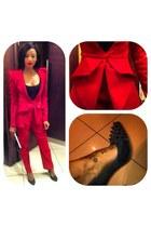 red Gert Johan Coetzee suit - black Caastellos Sandton heels