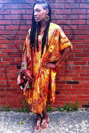 carrot orange caftan dress - light brown Target sandals