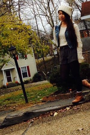 brown Forever 21 boots - beige Forever 21 hat - eggshell Forever 21 sweater