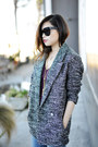 Dark-gray-h-m-coat-black-celine-glasses-maroon-sandro-t-shirt