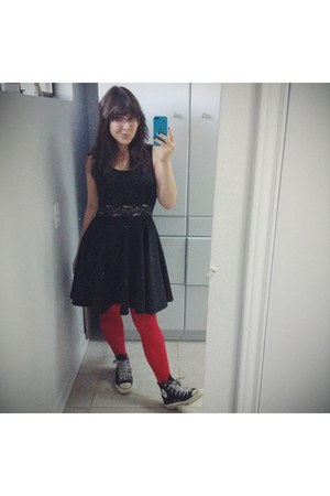 black lace cut-out dress - ruby red stockings - black canvas Converse sneakers