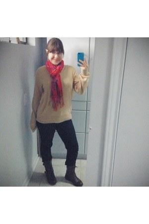 ruby red floral print scarf - dark brown boots - black American Rag jeans